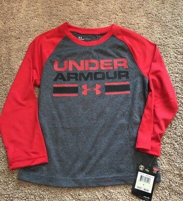 Nwt Boys Under Armour Gray & Red Performance T-Shirt, Size 4