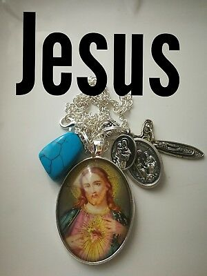 Code 334 Jesus Howlite charged crucifix cross Infused Necklace Confirmation Holy