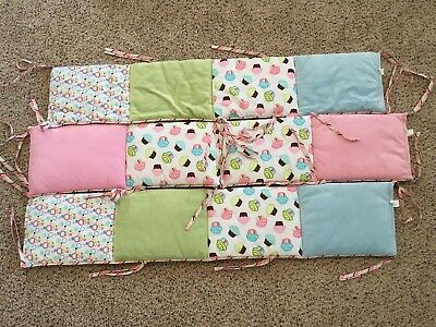 Trend Lab CupCake Padded Baby Crib Bumper Colorful Ties! VERY CUTE!