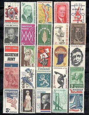 US Postage Stamps 5 Cent Collection Of 25 Stamps 50-55 Years Old (V-2)