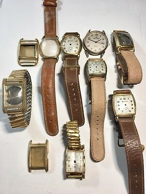 Vintage Antique MENS Wristwatch Cases Some Gold Filled Some New Old Stock (BIN2)