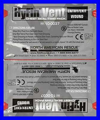 North American Rescue Hyfin Vent Chest Seal 2 Ct FREE SHIPPING