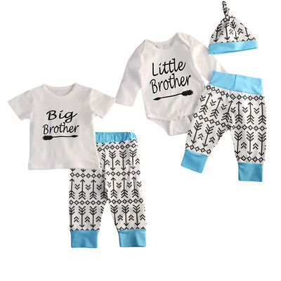Big/Little Brother Matching Baby Boys Kids Cotton Tops Pants Outfits Clothes AU