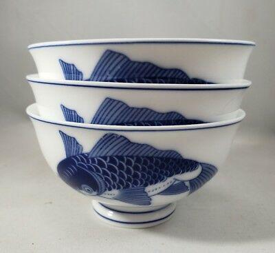 Lot of 3 Chao-an footed rice bowls blue and white carp - VGUC