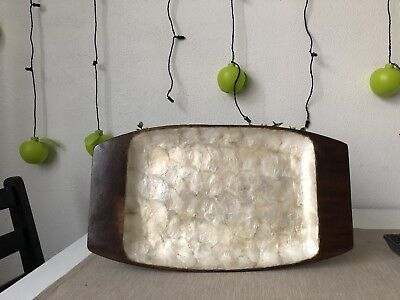 VINTAGE Retro WOOD MOTHER OF PEARL SERVING TRAY Solid 41cm Kitchen Decor