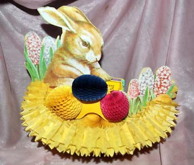Vtg Reproduction Of 1925 Beistle Honeycomb Tissue 3D Fold Out Bunny Centerpiece