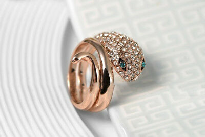 Women Rose Gold Austrian Crystal Wide Fashion Snake Jewelry Ring Creative Ring