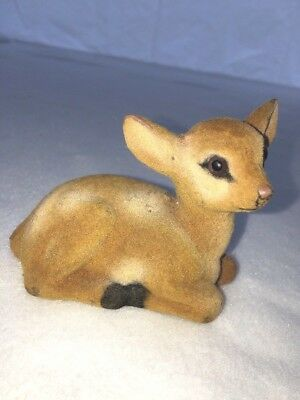 Vintage Flocked Fuzzy Fawn Deer Figurine Laying Down