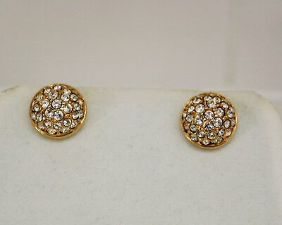 Swarovski Gold Tone Clear Crystal Pave Swan Signed Round Dome Post Earrings