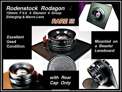 RODENSTOCK 150mm F5.6 Rodagon on Beseler Lensboard in EXCELLENT+ Condition