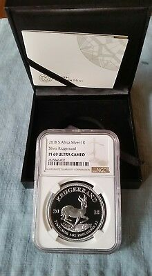 2018 1oz Silver PROOF Krugerrand PF69 ULTRA CAMEO  COA#'s 1100's In Hand USA!!