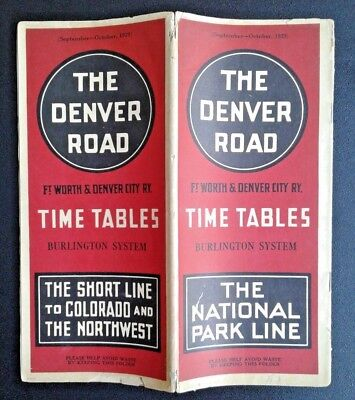 Ft Worth & Denver City Railroad Time Tables 1929 w Map of Southern Routes