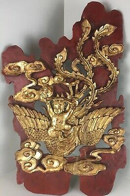 Vintage ASIAN Hand Carved Architectural WOOD Panel Plaque WITH FIGURES Gold Red