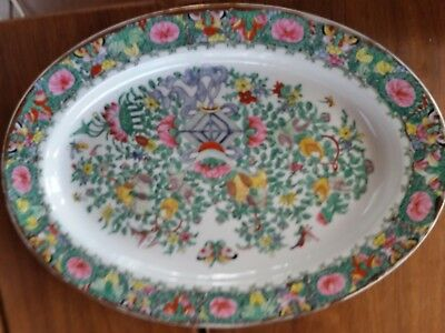 VINTAGE  chinese FAMILY ROSE RARE LARGE BUTTERFLIES FLOWERS MEDALION PLATTER