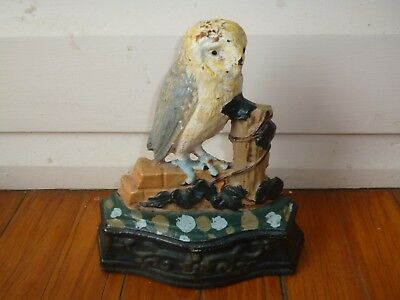 Vintage Retro Cast Iron Doorstop. Owl Lovers