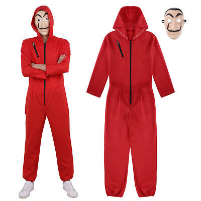 Halloween One-piece Coverall Hooded Jumpsuit Costume Mask Cosplay Fancy Dress
