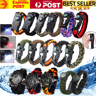 9/5 in1 Outdoor Survival Bracelet Paracord Whistle Gear Flint Compass Watch OZ