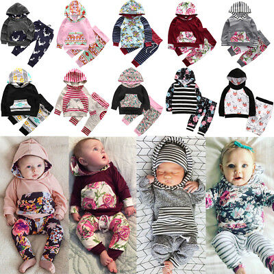 US 2PCS Newborn Toddler Kids Baby Boy Girl Hooded Tops+Pants Outfits Set Clothes