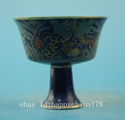 Chinese old famille rose porcelain tall foot cup /chenghua mark