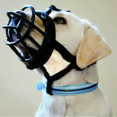 Baskerville Ultra Adjustable Padded Dog Muzzle Plastic Basket BLACK 6 Sizes