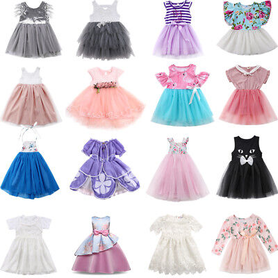 AU Toddler Girls Princess Dress Kid Baby Party Wedding Lace Tutu Dresses Clothes