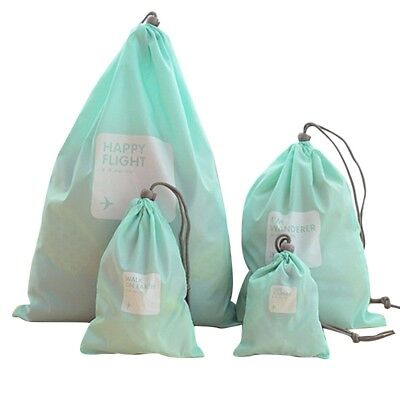 US 4Pcs Home Laundry Shoe Travel Pouch Tote Drawstring Waterproof Storage Bag
