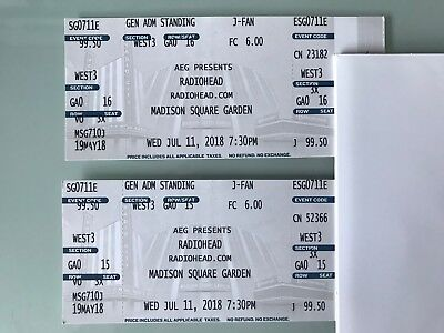 Delightful Radiohead, Madison Square Garden, NYC, 11 July 2018, 2 General Standing  Tickets Nice Design
