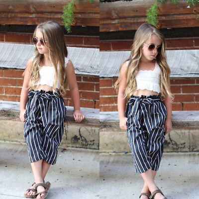 New Toddler Kids Baby Girls Lace Stripes Crop Tops Long Pants Outfits Clothes AU