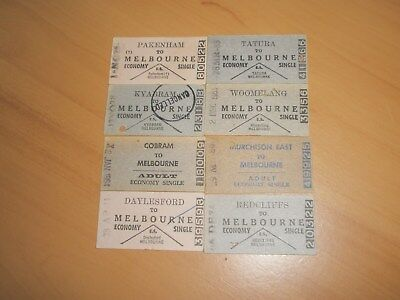 Victorian Railway Tickets Various Country Issues x 8.