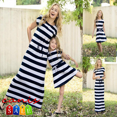 AU Mother and Daughter Casual Boho Stripe Maxi Dress Mom&Kid Matching Set Outfit
