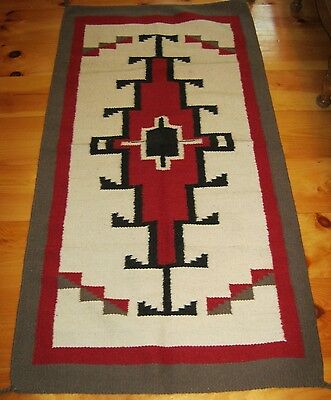 Navajo Design, Southwestern Wool Rug or Wall Hanging 32 x 64  White and Red