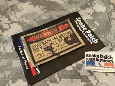 SNAKE PATCH écusson WARNING STAY BACK 100 meters or you will be shot MULTICAM
