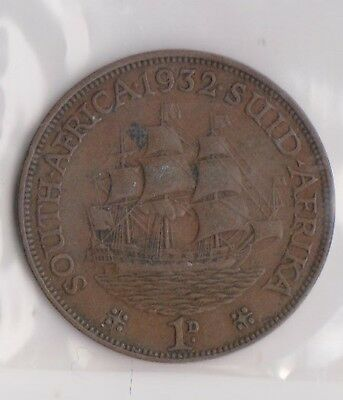 (H106-48) 1932 south Africa one penny coin (AW)