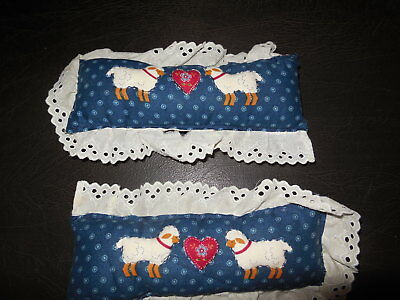 Pair of Vintage Doll House Furniture Pillows with Sheep