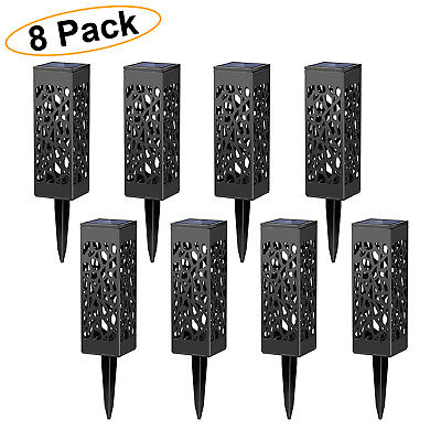 SOLAR LED PATHWAY LIGHTS Automatic Walkway Lamp Outdoor Yard Garden Black 8 PACK