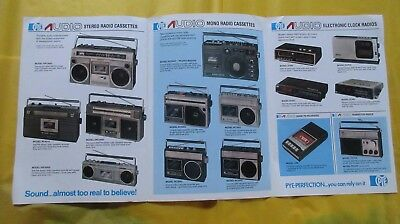 Circa 1970's Pye Audio Catalogue Stereo Radio Cassettes Electronic Clock Radios.