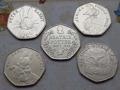 50p Jemima Puddleduck, Squirrel Nutkin, Peter Rabbit, Mrs Tiggywinkle, Beatrix