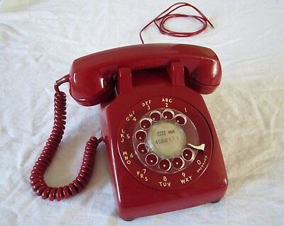 Early 1970's American telephone Western Electric / Bell dial phone RED 1971