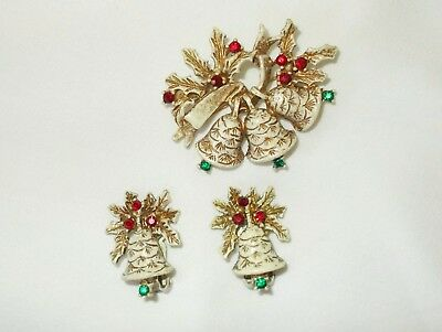 Vintage Christmas Brooch Pin Earring Set Signed Dodd FREE PAID Shipping