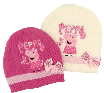 Official Peppa Pig Winter Beanie Knitted Hat Bow Girls Pink Cream Sizes 3-7 yrs
