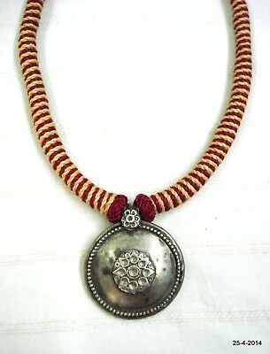 vintage antique tribal old silver necklace choker pendant disk traditional