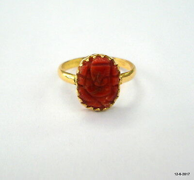vintage 20kt gold ring Coral gemstone ring handmade hindu god ganesha