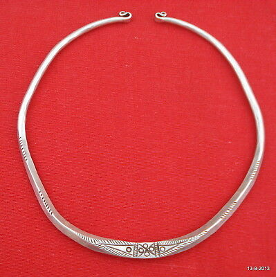 vintage antique ethnic tribal old silver neck ring necklace choker jewelry