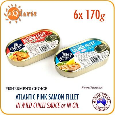 6 Tins 170g Atlantic Pink Salmon Fillet in Mild Chilli or No Sauce Product of EU