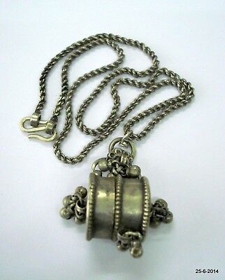 vintage antique tribal old silver chain pendant necklace kajal box pendant