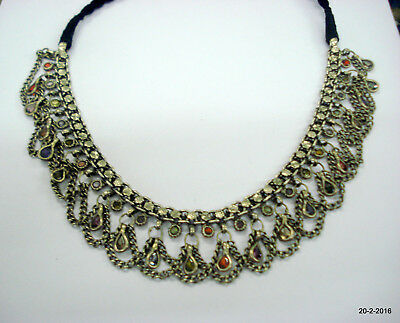 vintage antique ethnic tribal old silver necklace choker handmade jewellery