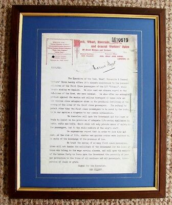 Titanic Replica Print Of A Letter From The Dwr & Gw Union To The Board Of Trade