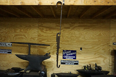 41-54 IN COLONIAL WROUGHT IRON SAWTOOTH FIREPLACE CRANE TRAMMEL Antique Pots TK