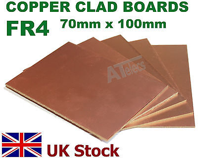 Copper Clad Boards  Single Sided  FR4  70mm x 100mm for PCB , Artwork - UK Stock
