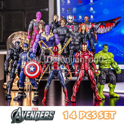 Marvel Avengers Iron Man Spider Man Captain America Thanos 7'' Action Figure set